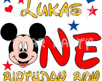 Personalized 1st birthday, one,  Mickey Mouse Digital Image for T shirt, Printable Iron On Transfer, Sticker custom Birthday Shirt image