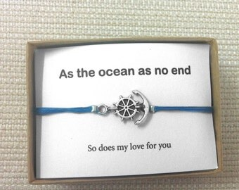 Couples Bracelets, Anchor Bracelet, Love Cuff , Boyfriend Gift, Girlfriend Gift, Matching Couples, His And Her Braclet,His and Her,Honeymoon