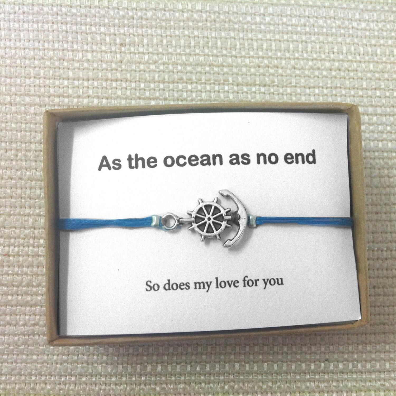 Bracelets bracelet ancre manchette de lamour cadeau ami - Bracelet couple ancre ...