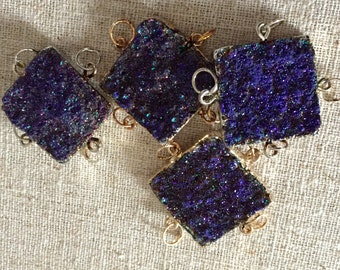 Brilliant Agate Druzy Square with 14kt gold  or Antique Silver plate and 4 bails in Purple