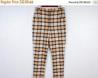 ON SALE Brown Tartan Plaid Women Pants / Checkered Pants / Formal Women Pants / Hipster Style Punk Pants
