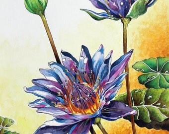 "Watercolour LOTUS Flower  Giclee  Print 11""x14"" (27.9 cmX 35.5 cm)  Floral Art Print   Blue Flower Painting  Unique Gift  Christmas Gift"