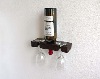 Wall Wine Rack, Prize Bottle Display, Wall Mounted Wine Rack, Holds One Bottle Two Glasses
