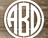 Monogram Wall Hanging - Wooden Monogram Letters - Circular Monogram with Border - Monogram Wall Decor - Wall Hanging Letters, any size