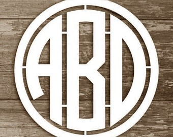 Wooden Monogram Letters -Monogram Wall Hanging - Circular Monogram with Border - Monogram Wall Decor - Wall Hanging Letters, any size