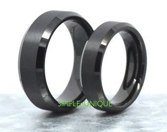 Promise Rings for Couples Engagement Wedding Ring Matching Set Black Tungsten Wedding Bands His and Her Engagement Rings for Women Men