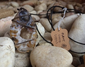 Gun Metal Wrapped Angel's Wing Agate Necklace