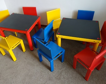 11 x rare Kartell school system chairs and desks tables Scuola Centrokappa 1979 seventies Masayuki Matsukaze stackable chair for children