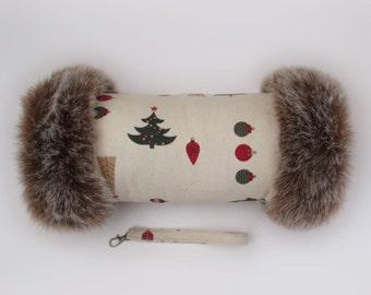 Festive Christmas Luxury Faux Fur Trimmed Hand Muff