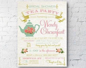 Bridal or Baby Shower Tea Party Invitation | Vintage Flowers | Digital Download | 4X6