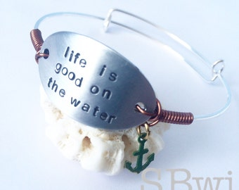 Life is good on the water--aluminum and stainless steel adjustable bangle  with copper and verdigris anchor detail