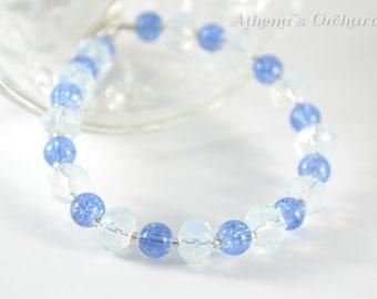 Blue & Crystal Beaded Bracelet