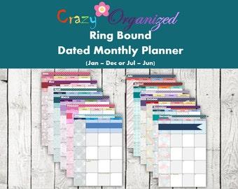 Dated Monthly Calendar Filofax / Kikki K insert Pack