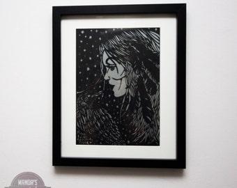 raven girl paper cutting