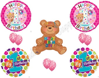 TEDDY BEAR Girl's 1ST BIRTHDAY Party Happy Balloons Decoration Supplies  First
