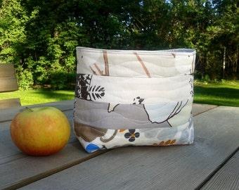 Quilted fabric basket, patchwork organizer, small bin storage container made from Marimekko fabric, neutral Scandinavian home decor