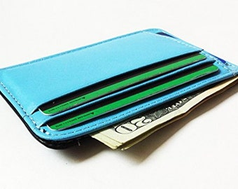 Phoenixwallets Minimalist Leather Wallet (Sky Blue/ Black)