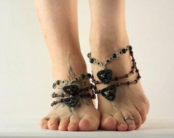 Bohemian Yoga Barefoot Sandals in Earth Tones, Beaded Hemp