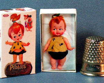 Pebbles Flintstone Doll Box  -  Dollhouse Miniature  1:12 scale - Dollhouse accessory - 1960s Dollhouse girl nursery toy -  Doll Box Replica