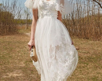 butterfly lace tulle kneelength wedding dress