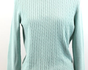 Light Turquoise cable knit  turtleneck. By Designers Originals