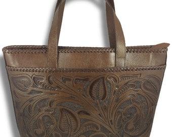 Chichen-Itza Leather Tote Bag