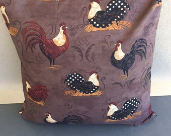 Roosters & Chooks on Brown Cushion Cover