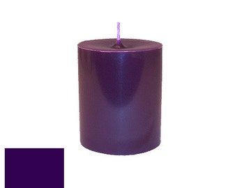 3 x 3.5 Eggplant Classic Hand-poured Unscented Pillar Candles Solid Color