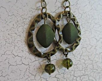 Bronze Earrings, Olive Green Earrings, Green Earrings, Birthday Gifts Women, Hoop Earrings, Hammered Bronze Earrings,Earrings,Retro Earrings