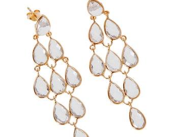 Gold Plate Sterling Silver Crystal Gemstone Chandelier Earrings #SC10651
