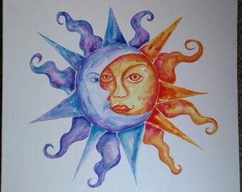 Sun Moon Celestial watercolor painting OOAK Art Original on canvas