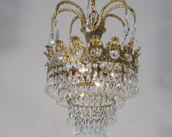 Antique Vintage Chandelier Brass wedding Cake Chandelier Ornate Ring