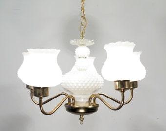 Antique Vintage Chandelier White Hobnail Glass Original Light Fixture 1950's