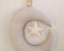 NEW ↠ Moon and Star Baby Mobile, Star, Moon, Wood, Nursery, Children's Decor, Neutral Decor
