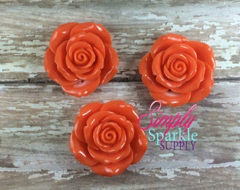 Orange Flower Pendant Chunky necklace Flower Focal Bead/Pendant bubblegum pendant