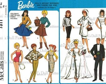 Copy of Vintage Barbie & Ken Wardrobe #7311 with Several Knitted Barbie Clothes Included