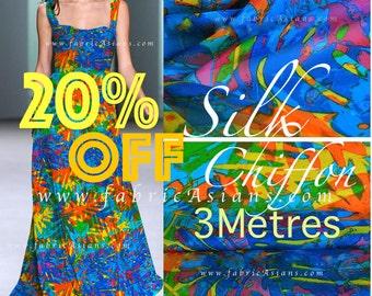 SALE Blue silk chiffon SCD100854