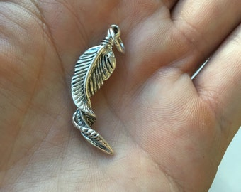 925 sterling silver feather pendant necklace
