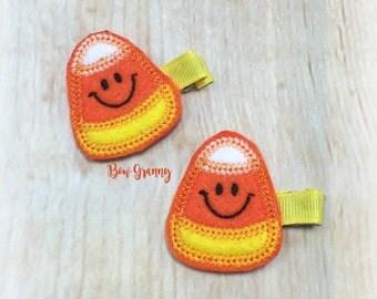Candy Corn Clip, Halloween Clip, Halloween Clippie, Halloween Bow, Orange Hair Clip, Orange Clippie