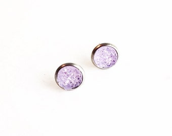 Hypoallergenic Faux Druzy Earrings 8mm (Surgical Stainless Steel) - Lilac
