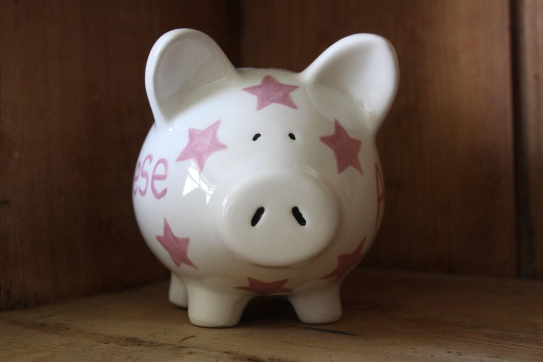 Personalised ceramic childrens piggy bank made to your for Childrens piggy bank