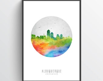 Albuquerque Skyline Poster, Albuquerque Cityscape, Albuquerque Decor, Albuquerque Art, Home Decor, Gift Idea, USNMAL20P