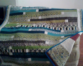 Teal, Green and Brown Lap Quilt