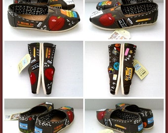 Painted Teacher Shoes Graduation Gift Women's Hand Painted Shoes Teaching TOMS Gift for her Custom TOMS Painted Slip Ons, Gift for teacher