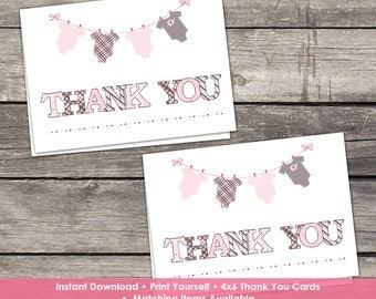 YOU PRINT Pink and Grey Thank You Cards for a Girl - Baby Shower Thank You Cards - 4x6 - Instant Download Baby-158