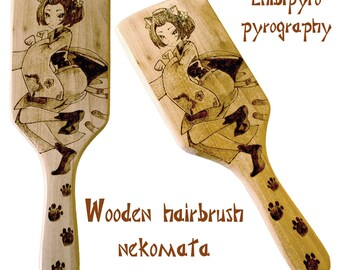 wooden Nekomata inspired haircomb