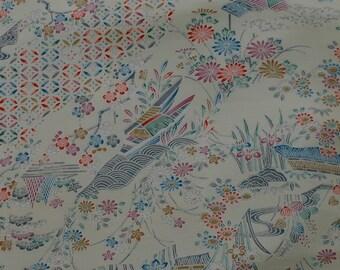 Vintage Japanese Silk Kimono Fabric Beautiful Water Garden