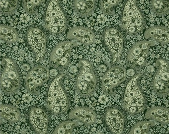 Green Paisley FABRIC | Jakarta Paisley Olive | Fat Quarter - 100% Cotton Quilting Fabric