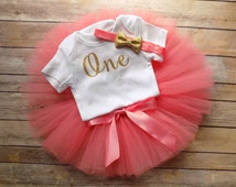 coral and gold first birthday outfit coral first birthday outfit one first birthday outfit gold glitter birthday outfit first birthday tutu