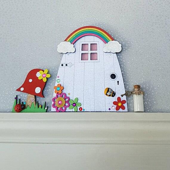 Fairy door rainbow fairy door over the rainbow by for Rainbow fairy door